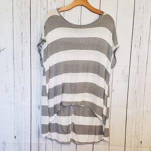 Topshop Striped Tee Split Back Size 10 Gray White